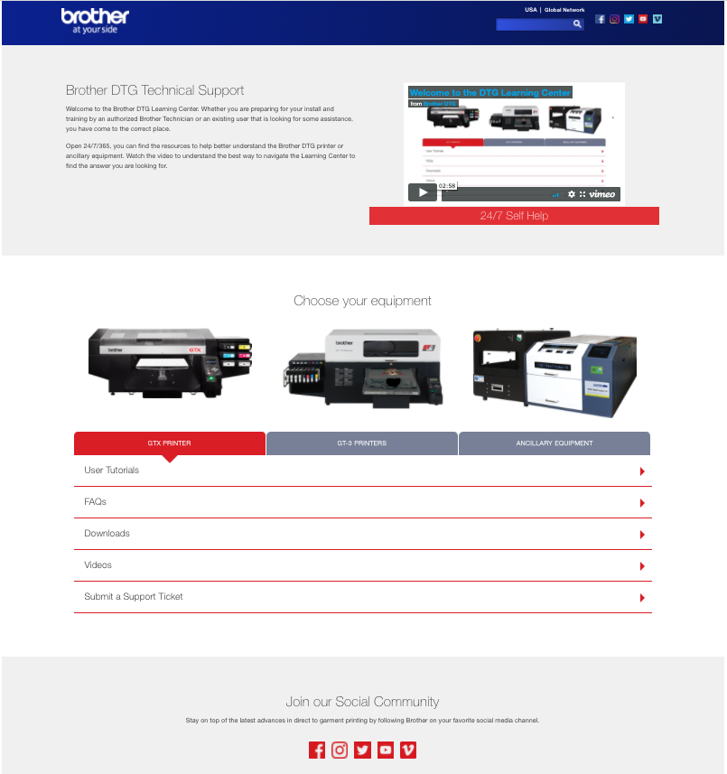 Brother technical support portal