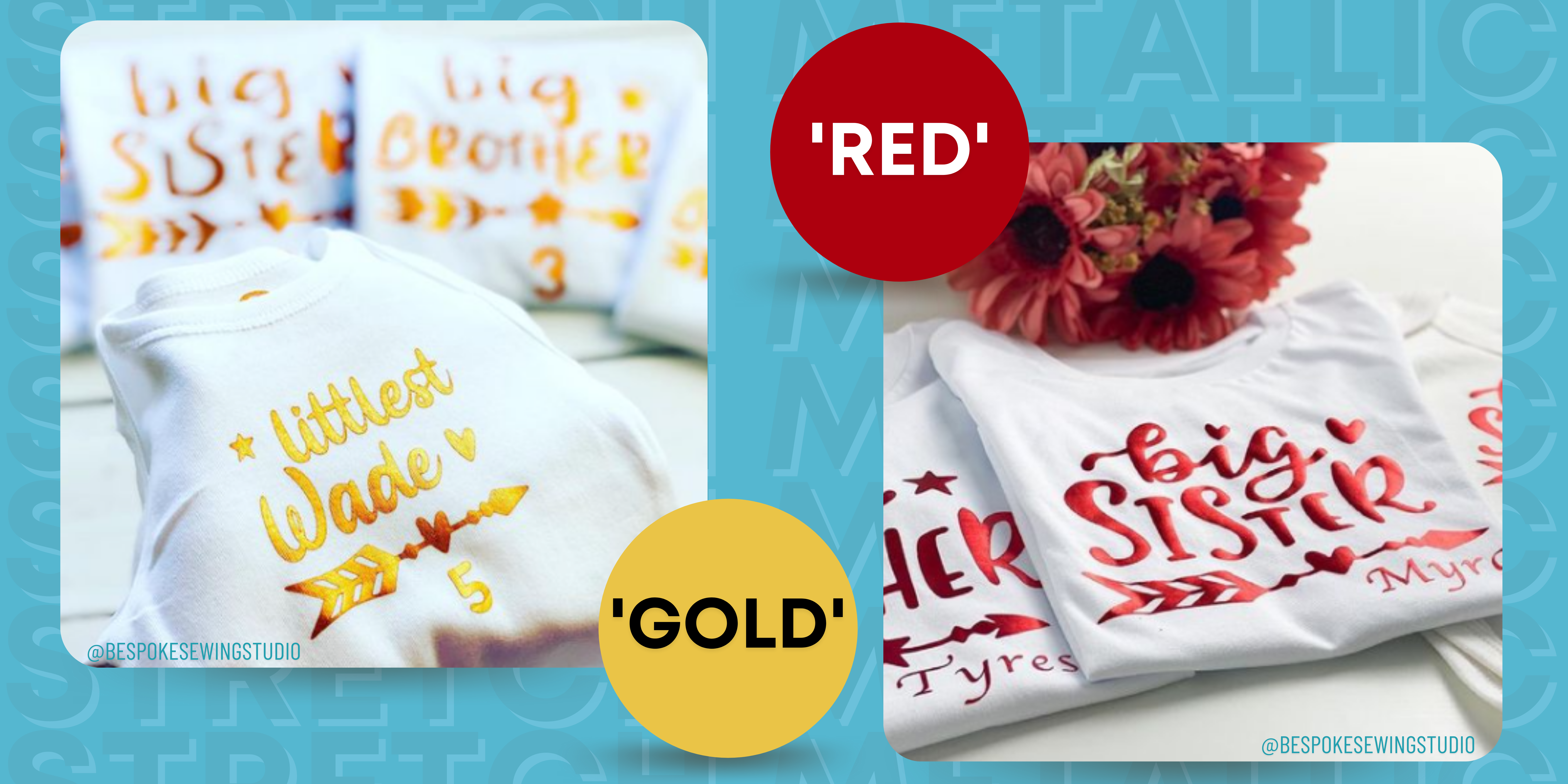Stretch Metallic HTV Customer Images Gold & Red HTV