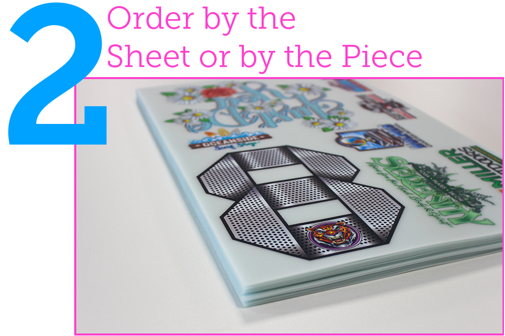 2. order by the sheet or by the piece. Ultracolour transfers