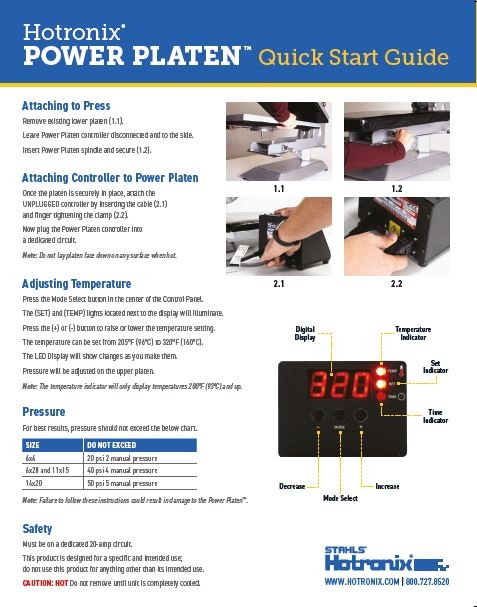 power platen heat press instructions